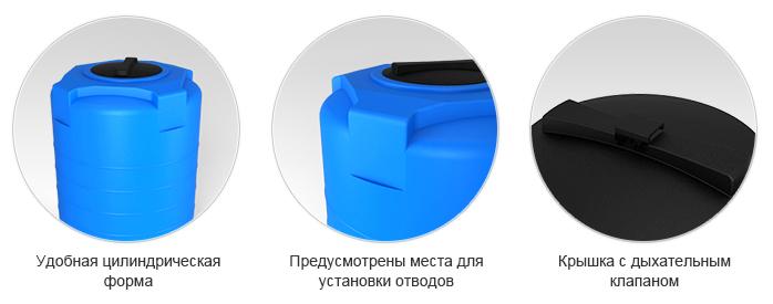 Вертикальные пластиковые ёмкости для хранения воды