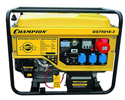 Портативный бензиновый генератор Champion GG7501E мощностью 6.5 кВт